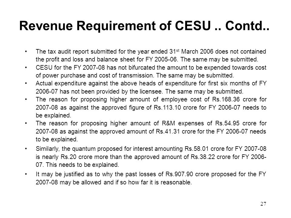 27 Revenue Requirement of CESU.. Contd..