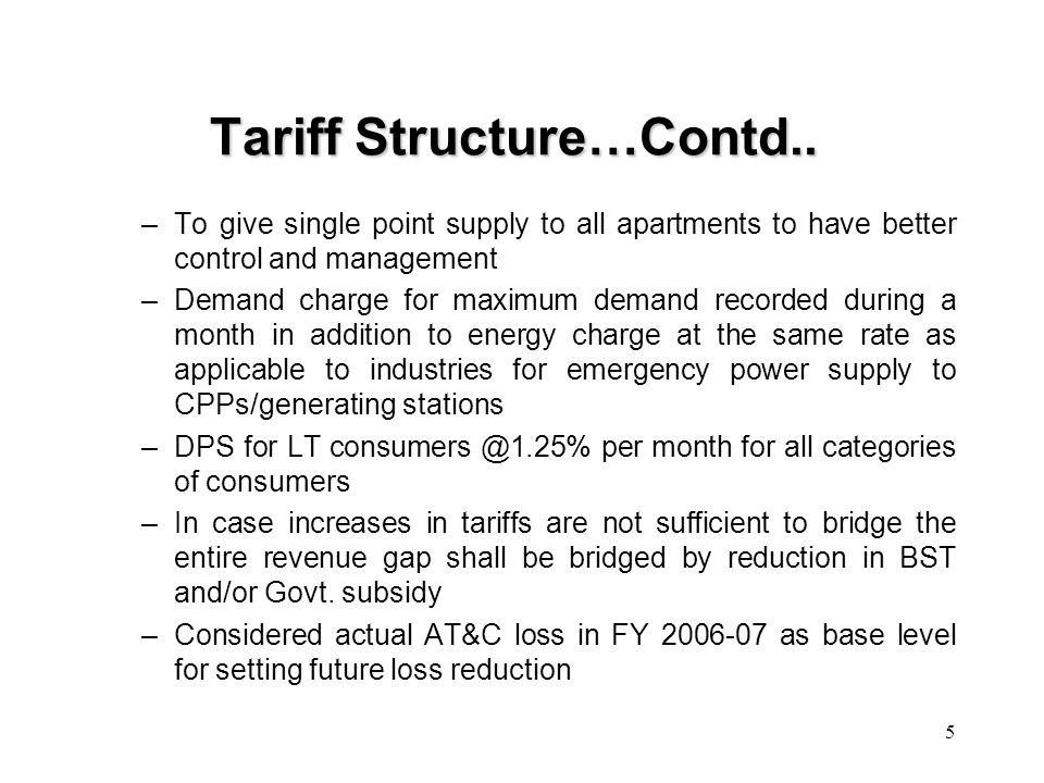 6 Tariff Structure…Contd..
