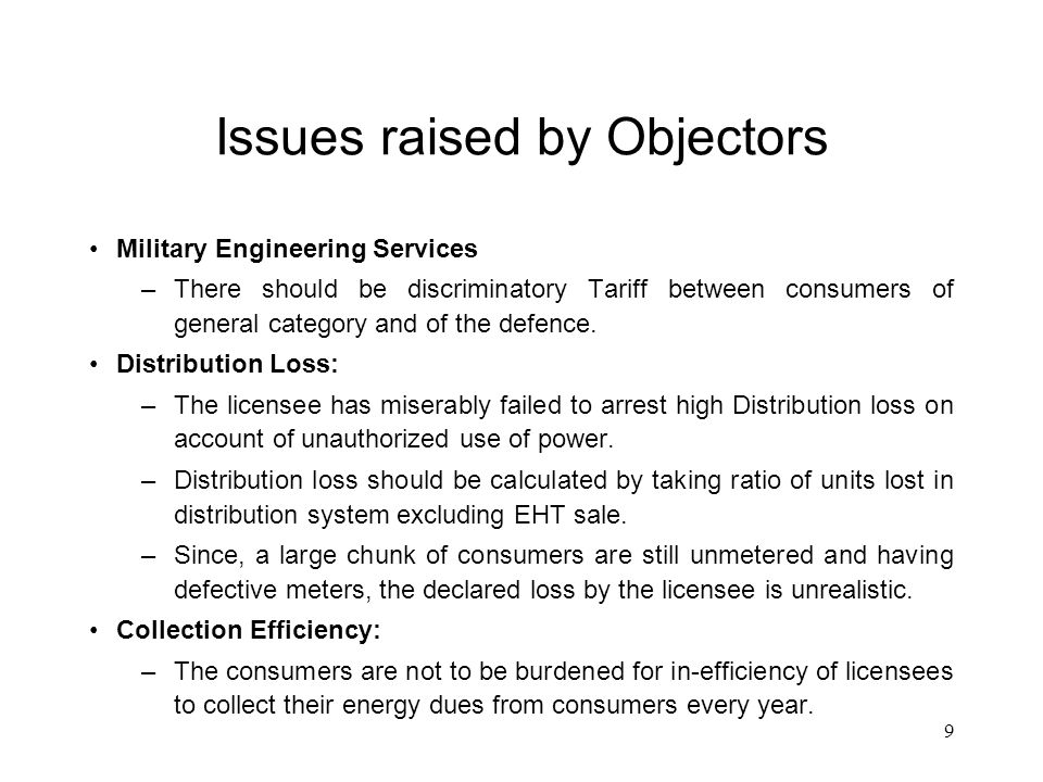 10 Issues raised by Objectors..Contd..