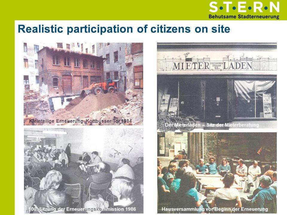 Realistic participation of citizens on site 11 Hausversammlung vor Beginn der Erneuerung Der Mieterladen – Sitz der Mieterberatung 100. Sitzung der Er
