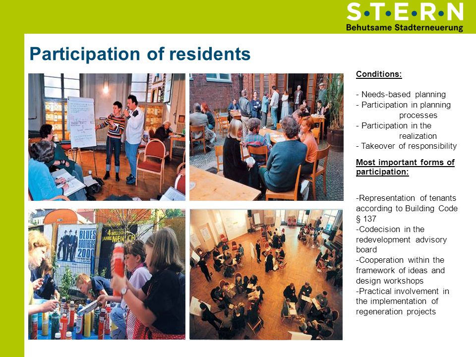 Participation of residents Conditions: - Needs-based planning - Participation in planning processes - Participation in the realization - Takeover of r