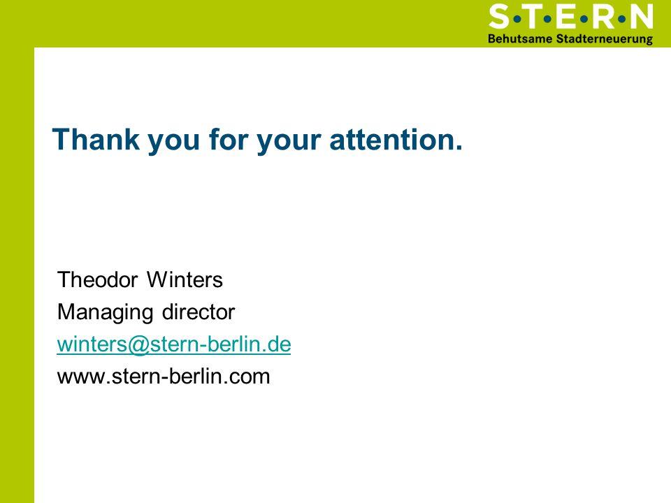 Thank you for your attention. Theodor Winters Managing director winters@stern-berlin.de www.stern-berlin.com