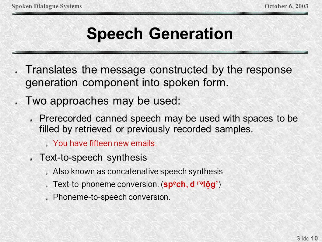 Spoken Dialogue SystemsOctober 6, 2003 Slide 10 Speech Generation Translates the message constructed by the response generation component into spoken