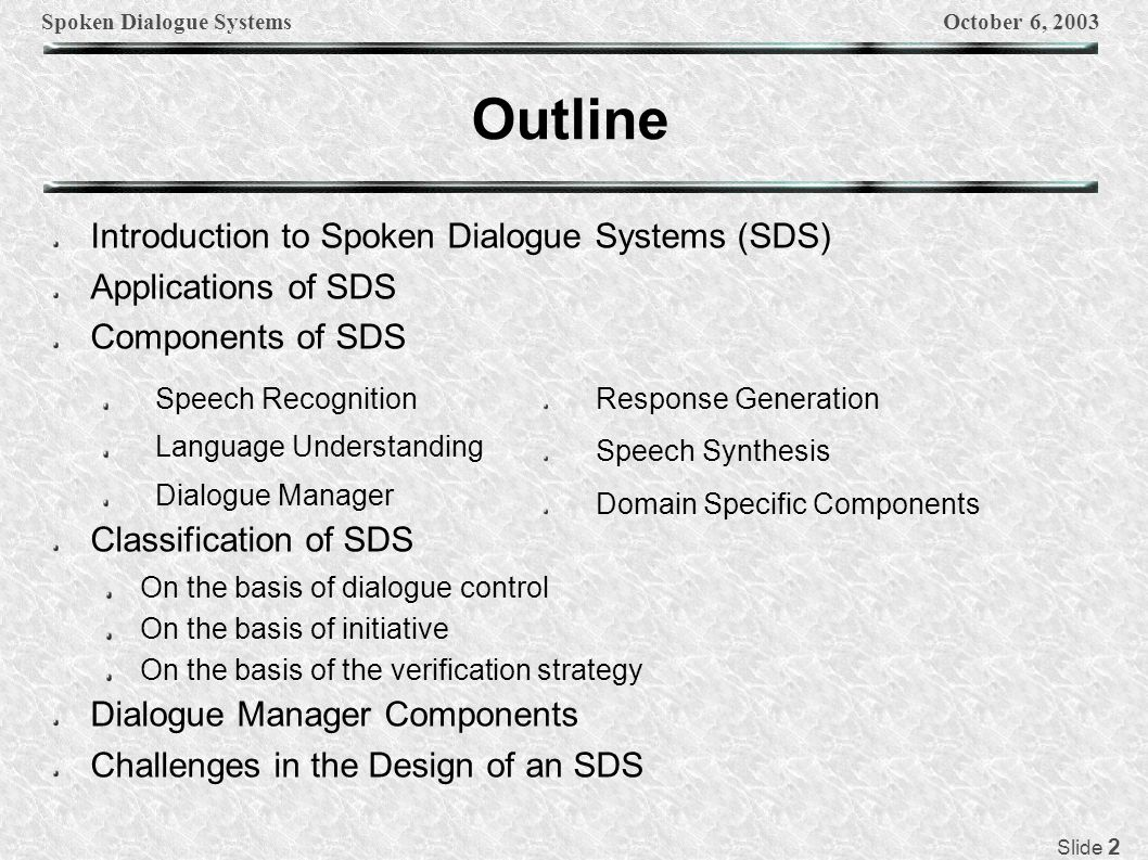 Spoken Dialogue SystemsOctober 6, 2003 Slide 3 Introduction Any computer system that interacts with a human using natural language.