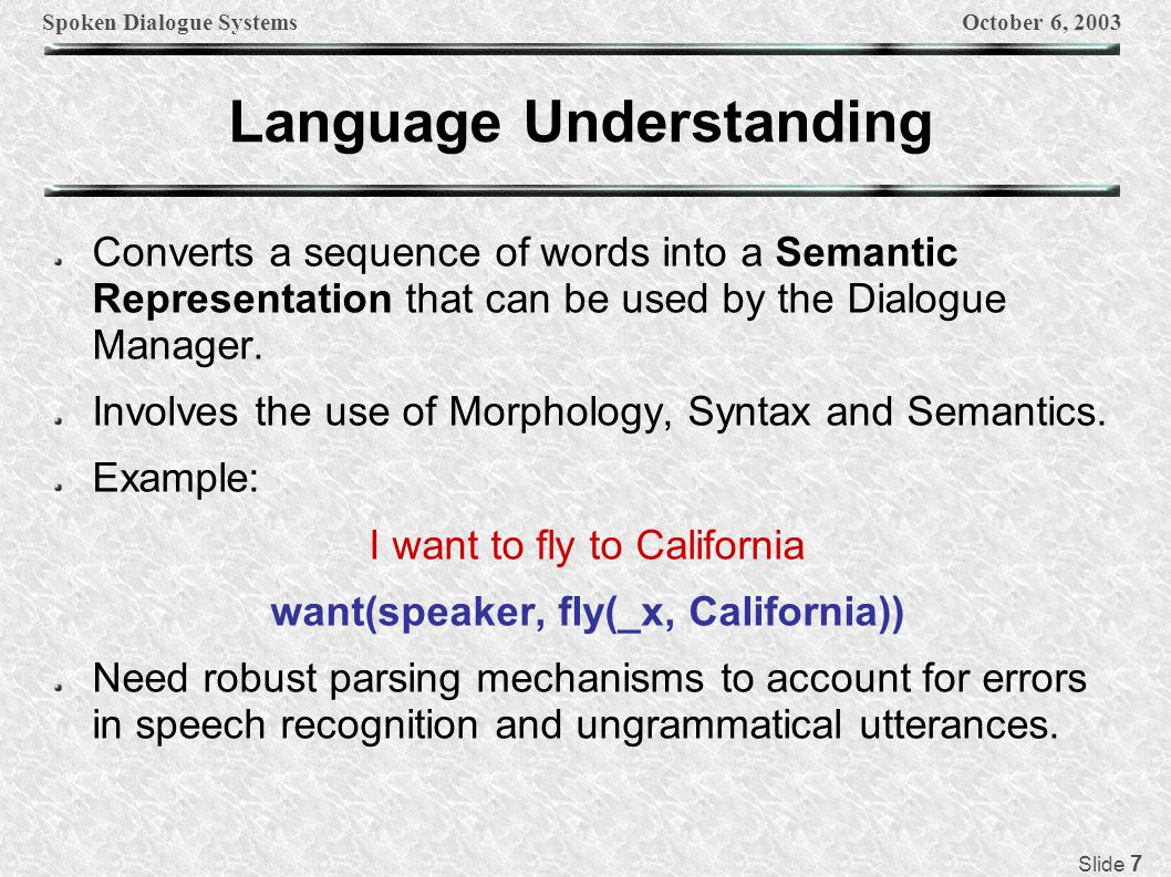 Spoken Dialogue SystemsOctober 6, 2003 Slide 7 Language Understanding Converts a sequence of words into a Semantic Representation that can be used by