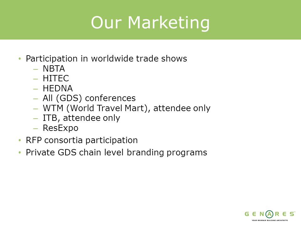 Our Marketing Participation in worldwide trade shows – NBTA – HITEC – HEDNA – All (GDS) conferences – WTM (World Travel Mart), attendee only – ITB, attendee only – ResExpo RFP consortia participation Private GDS chain level branding programs