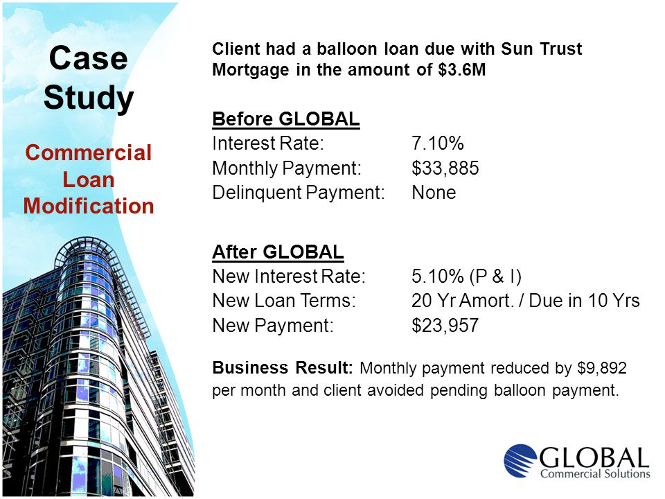 Client had a balloon loan due with Sun Trust Mortgage in the amount of $3.6M Before GLOBAL Interest Rate: 7.10% Monthly Payment: $33,885 Delinquent Payment: None After GLOBAL New Interest Rate: 5.10% (P & I) New Loan Terms: 20 Yr Amort.