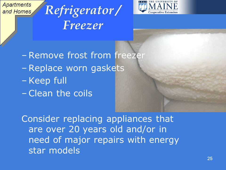 25 Refrigerator / Freezer –Remove frost from freezer –Replace worn gaskets –Keep full –Clean the coils Consider replacing appliances that are over 20 years old and/or in need of major repairs with energy star models Apartments and Homes