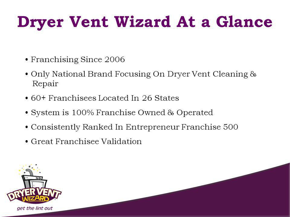 Franchising Since 2006 Only National Brand Focusing On Dryer Vent Cleaning & Repair 60+ Franchisees Located In 26 States System is 100% Franchise Owned & Operated Consistently Ranked In Entrepreneur Franchise 500 Great Franchisee Validation Dryer Vent Wizard At a Glance