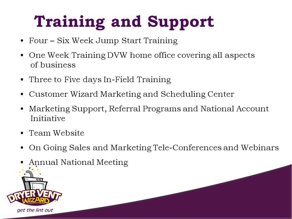 Training and Support Four – Six Week Jump Start Training One Week Training DVW home office covering all aspects of business Three to Five days In-Field Training Customer Wizard Marketing and Scheduling Center Marketing Support, Referral Programs and National Account Initiative Team Website On Going Sales and Marketing Tele-Conferences and Webinars Annual National Meeting
