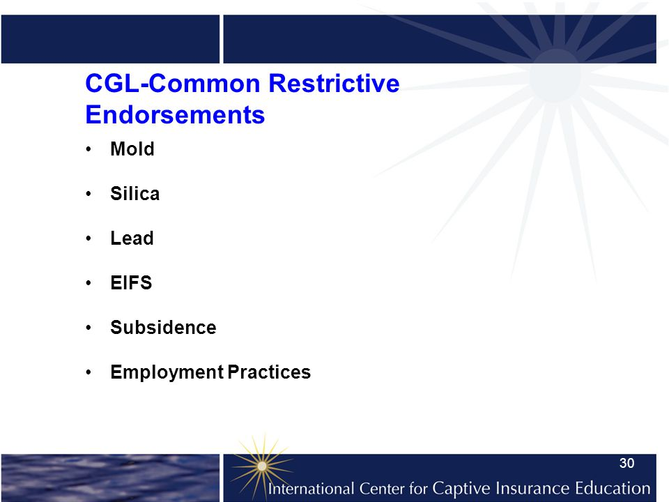 30 CGL-Common Restrictive Endorsements Mold Silica Lead EIFS Subsidence Employment Practices
