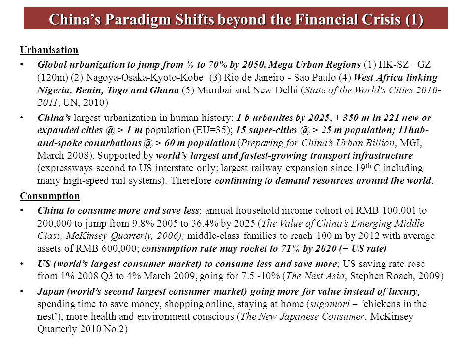Chinas Paradigm Shifts beyond the Financial Crisis (1) Urbanisation Global urbanization to jump from ½ to 70% by 2050.