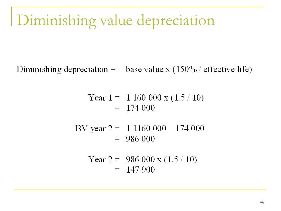 Diminishing value depreciation 46