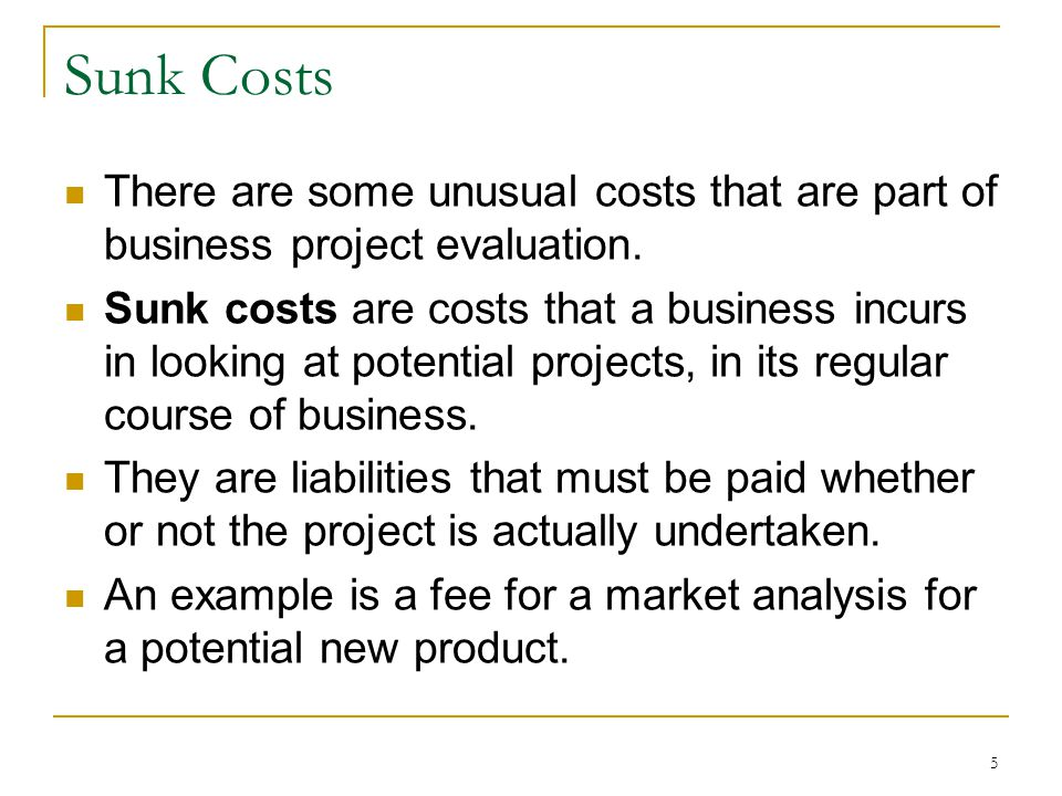 Sunk Costs There are some unusual costs that are part of business project evaluation. Sunk costs are costs that a business incurs in looking at potent