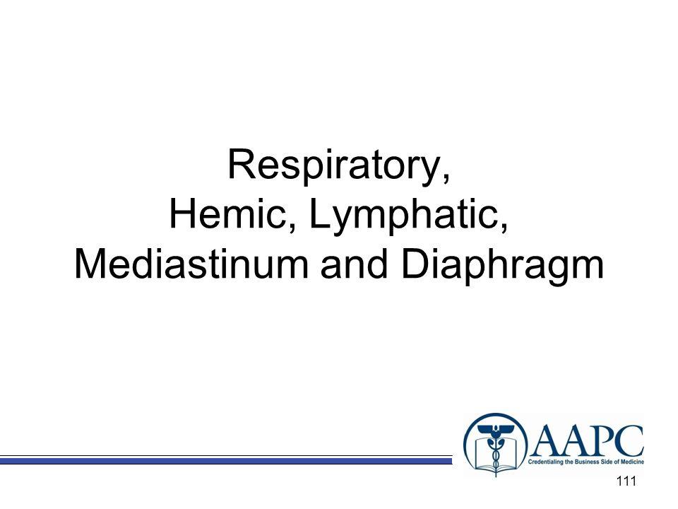Respiratory, Hemic, Lymphatic, Mediastinum and Diaphragm 111