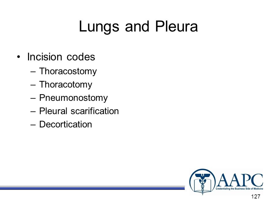 Lungs and Pleura Incision codes –Thoracostomy –Thoracotomy –Pneumonostomy –Pleural scarification –Decortication 127