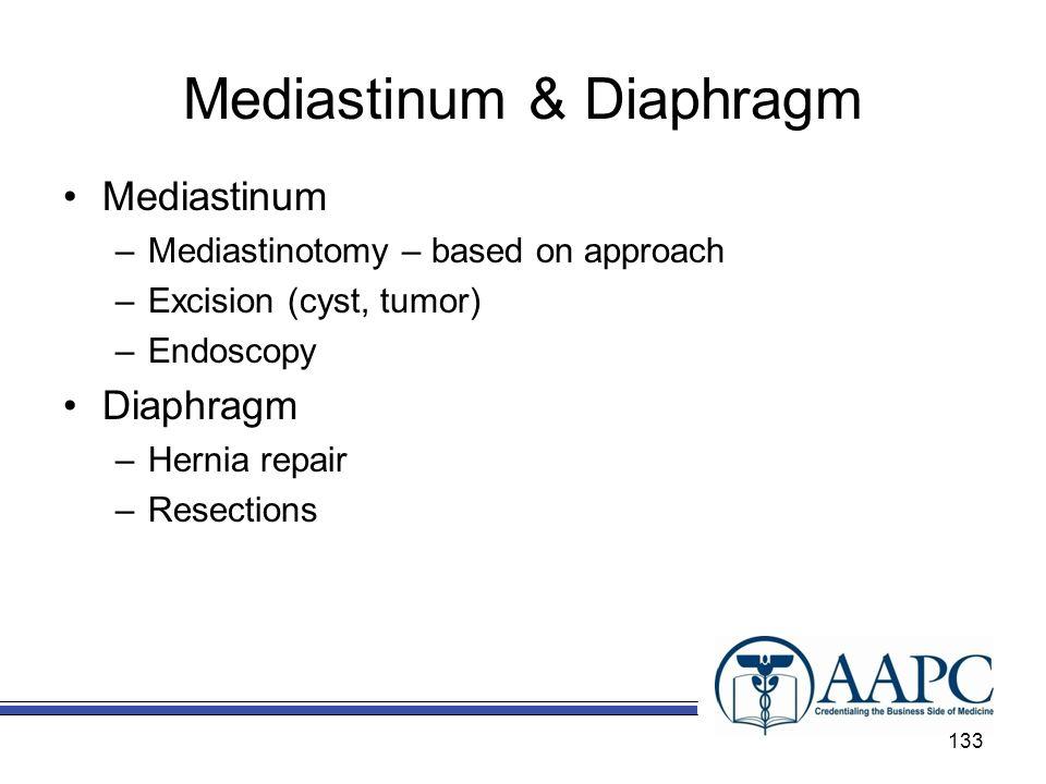 Mediastinum & Diaphragm Mediastinum –Mediastinotomy – based on approach –Excision (cyst, tumor) –Endoscopy Diaphragm –Hernia repair –Resections 133