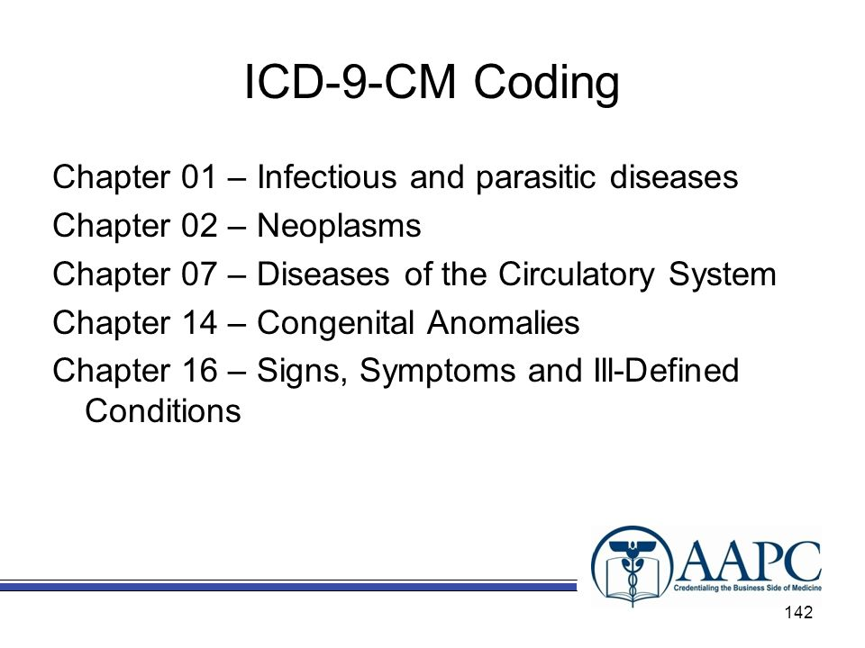 ICD-9-CM Coding Chapter 01 – Infectious and parasitic diseases Chapter 02 – Neoplasms Chapter 07 – Diseases of the Circulatory System Chapter 14 – Congenital Anomalies Chapter 16 – Signs, Symptoms and Ill-Defined Conditions 142