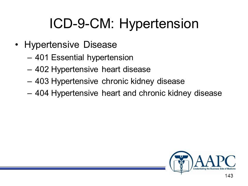 ICD-9-CM: Hypertension Hypertensive Disease –401 Essential hypertension –402 Hypertensive heart disease –403 Hypertensive chronic kidney disease –404