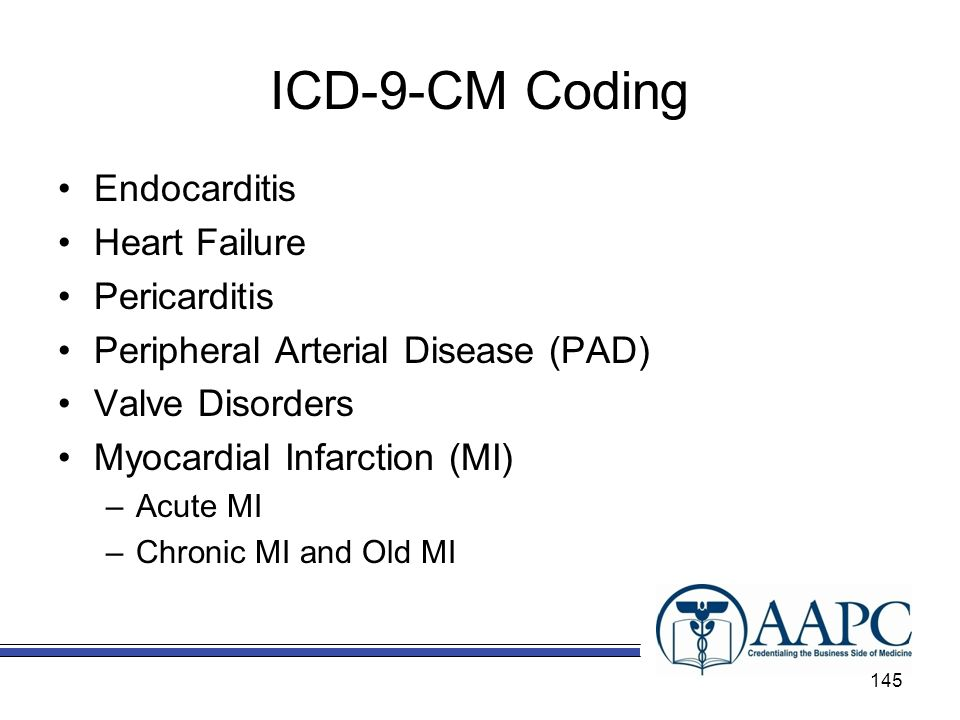 ICD-9-CM Coding Endocarditis Heart Failure Pericarditis Peripheral Arterial Disease (PAD) Valve Disorders Myocardial Infarction (MI) –Acute MI –Chronic MI and Old MI 145