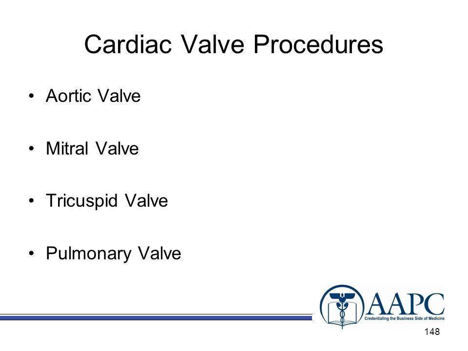 Cardiac Valve Procedures Aortic Valve Mitral Valve Tricuspid Valve Pulmonary Valve 148