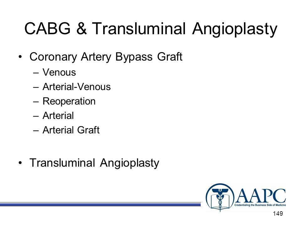 CABG & Transluminal Angioplasty Coronary Artery Bypass Graft –Venous –Arterial-Venous –Reoperation –Arterial –Arterial Graft Transluminal Angioplasty