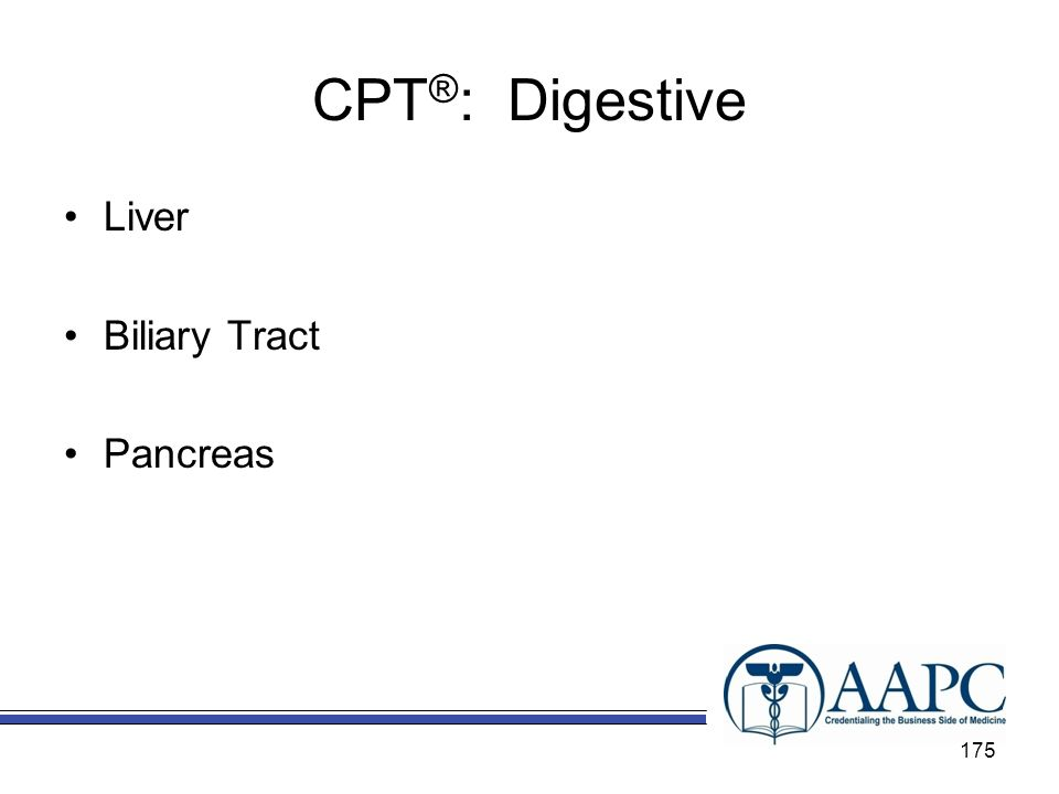 CPT ® : Digestive Liver Biliary Tract Pancreas 175