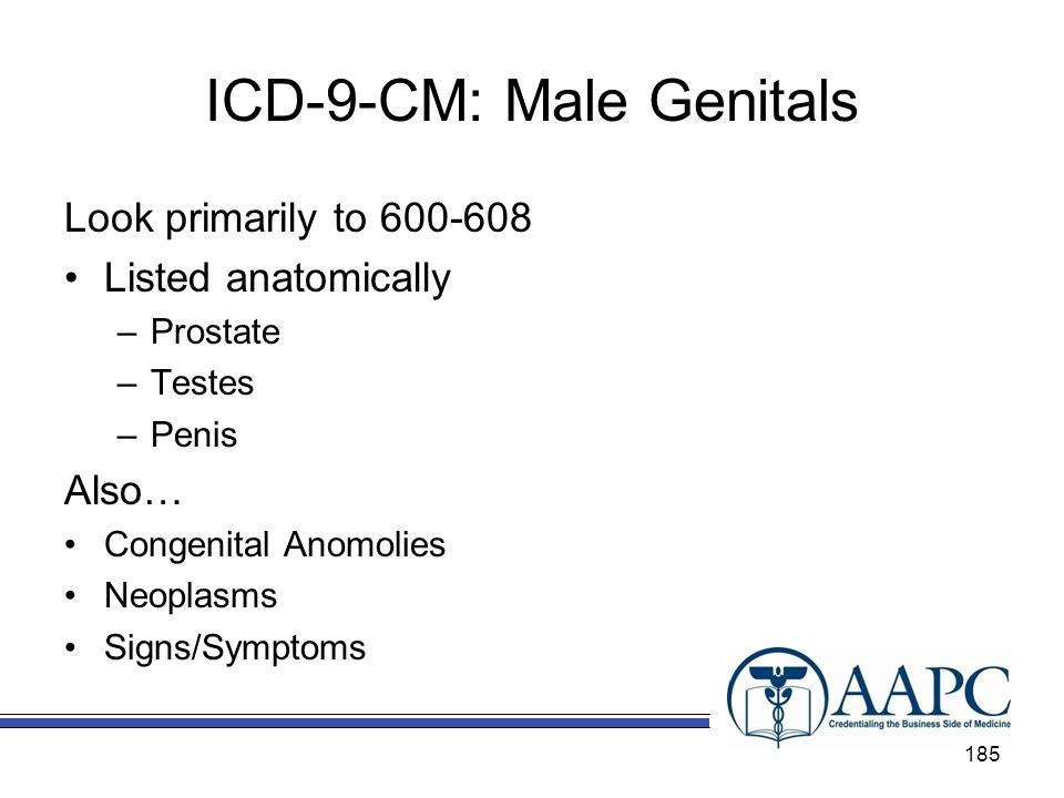 ICD-9-CM: Male Genitals Look primarily to 600-608 Listed anatomically –Prostate –Testes –Penis Also… Congenital Anomolies Neoplasms Signs/Symptoms 185