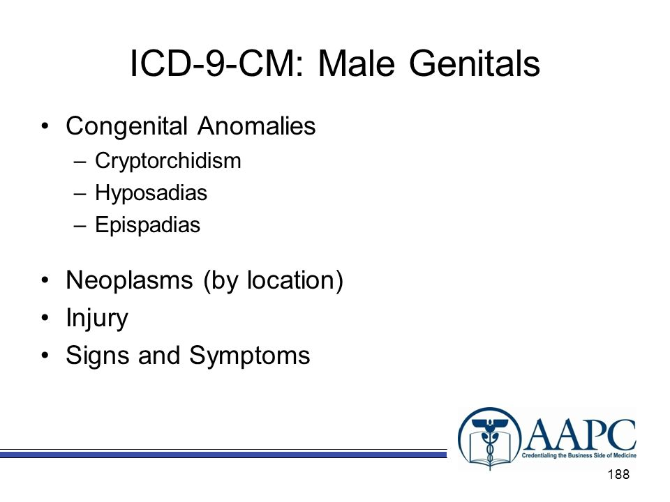 ICD-9-CM: Male Genitals Congenital Anomalies –Cryptorchidism –Hyposadias –Epispadias Neoplasms (by location) Injury Signs and Symptoms 188