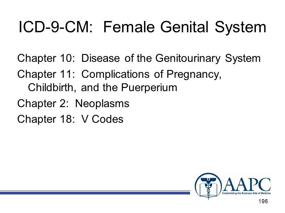 ICD-9-CM: Female Genital System Chapter 10: Disease of the Genitourinary System Chapter 11: Complications of Pregnancy, Childbirth, and the Puerperium Chapter 2: Neoplasms Chapter 18: V Codes 196