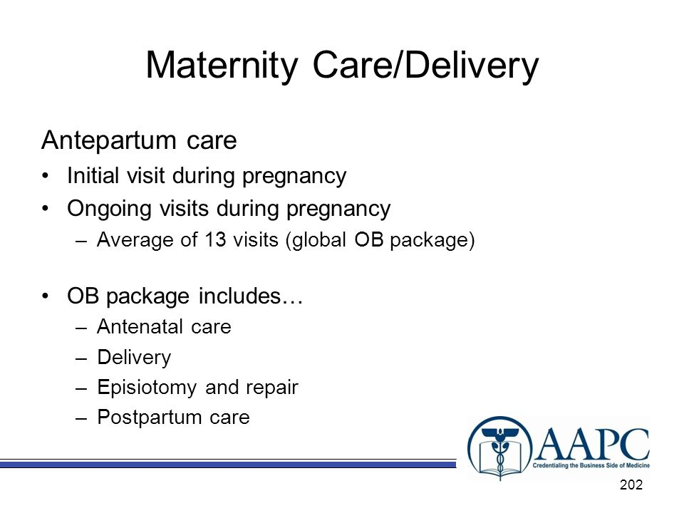 Maternity Care/Delivery Antepartum care Initial visit during pregnancy Ongoing visits during pregnancy –Average of 13 visits (global OB package) OB package includes… –Antenatal care –Delivery –Episiotomy and repair –Postpartum care 202