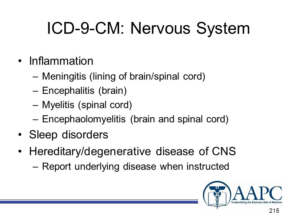 ICD-9-CM: Nervous System Inflammation –Meningitis (lining of brain/spinal cord) –Encephalitis (brain) –Myelitis (spinal cord) –Encephaolomyelitis (brain and spinal cord) Sleep disorders Hereditary/degenerative disease of CNS –Report underlying disease when instructed 215