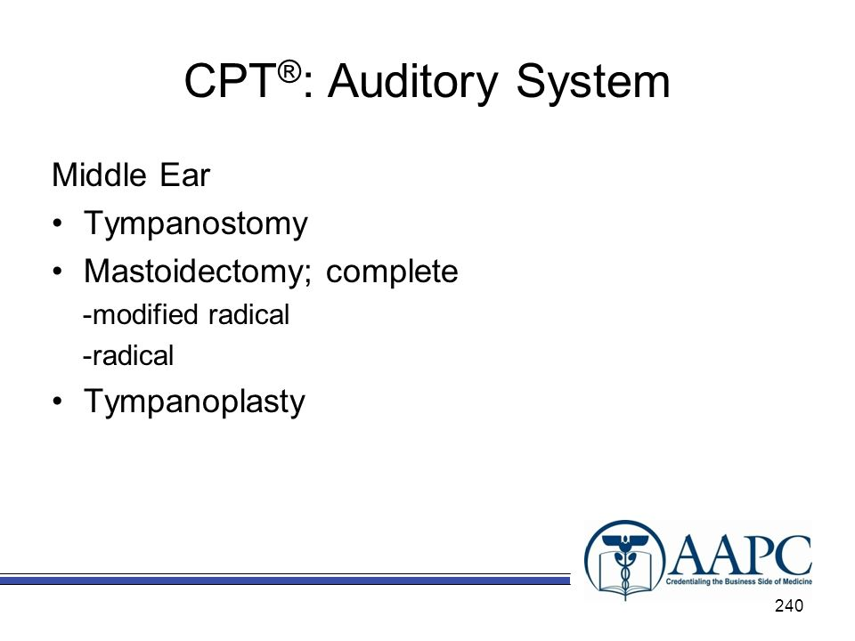 CPT ® : Auditory System Middle Ear Tympanostomy Mastoidectomy; complete -modified radical -radical Tympanoplasty 240