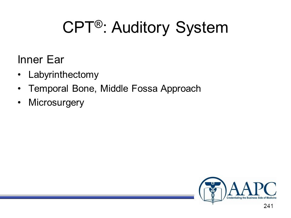 CPT ® : Auditory System Inner Ear Labyrinthectomy Temporal Bone, Middle Fossa Approach Microsurgery 241