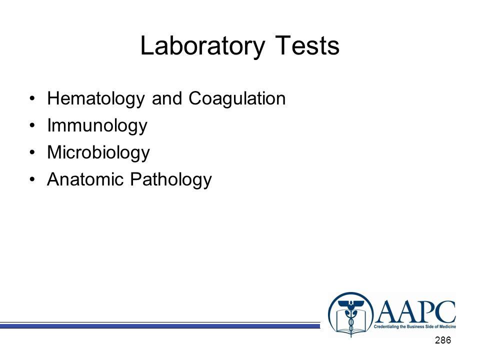 Laboratory Tests Hematology and Coagulation Immunology Microbiology Anatomic Pathology 286