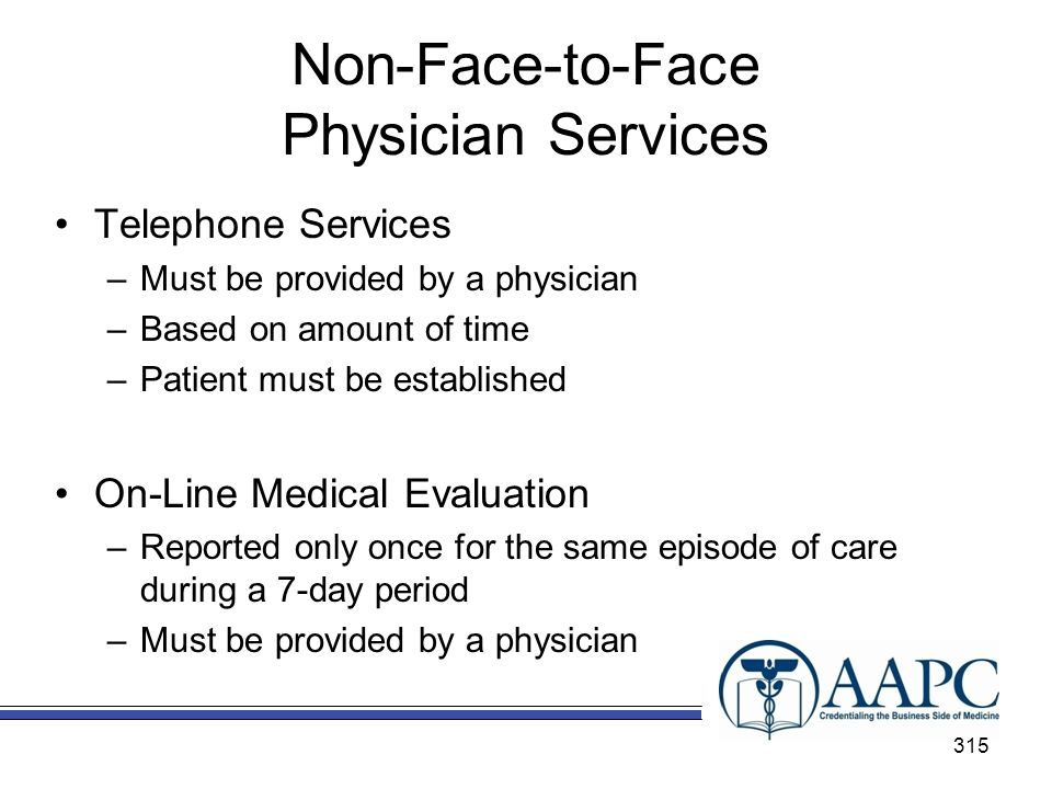 Non-Face-to-Face Physician Services Telephone Services –Must be provided by a physician –Based on amount of time –Patient must be established On-Line Medical Evaluation –Reported only once for the same episode of care during a 7-day period –Must be provided by a physician 315