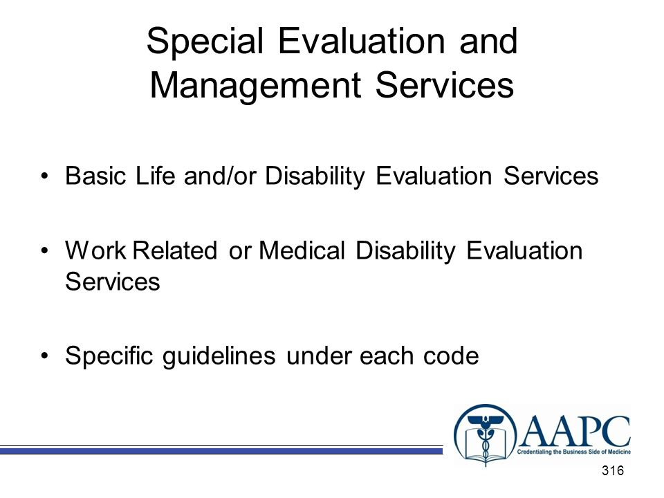 Special Evaluation and Management Services Basic Life and/or Disability Evaluation Services Work Related or Medical Disability Evaluation Services Specific guidelines under each code 316
