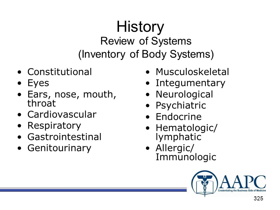 History Review of Systems (Inventory of Body Systems) Constitutional Eyes Ears, nose, mouth, throat Cardiovascular Respiratory Gastrointestinal Genitourinary Musculoskeletal Integumentary Neurological Psychiatric Endocrine Hematologic/ lymphatic Allergic/ Immunologic 325