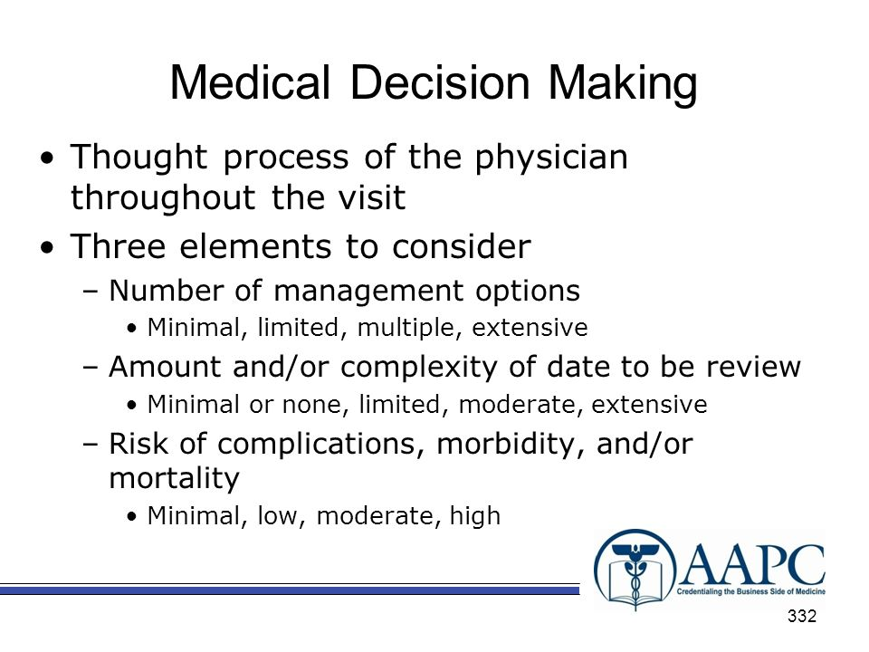 Medical Decision Making Thought process of the physician throughout the visit Three elements to consider –Number of management options Minimal, limited, multiple, extensive –Amount and/or complexity of date to be review Minimal or none, limited, moderate, extensive –Risk of complications, morbidity, and/or mortality Minimal, low, moderate, high 332