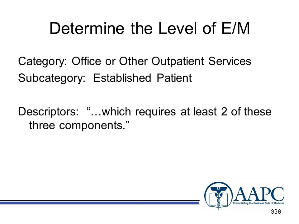 Determine the Level of E/M Category: Office or Other Outpatient Services Subcategory: Established Patient Descriptors: …which requires at least 2 of these three components.