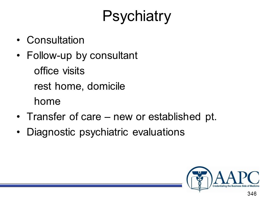 Psychiatry Consultation Follow-up by consultant office visits rest home, domicile home Transfer of care – new or established pt.