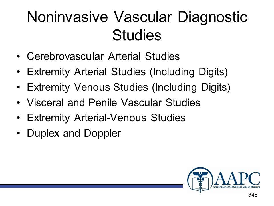 Noninvasive Vascular Diagnostic Studies Cerebrovascular Arterial Studies Extremity Arterial Studies (Including Digits) Extremity Venous Studies (Inclu