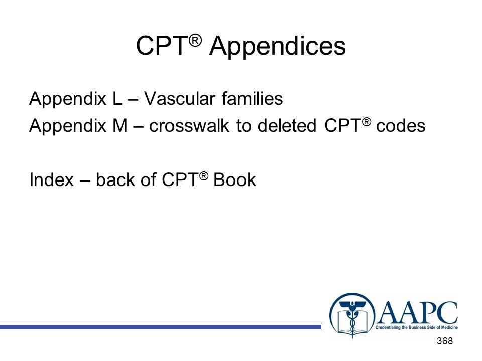 CPT ® Appendices Appendix L – Vascular families Appendix M – crosswalk to deleted CPT ® codes Index – back of CPT ® Book 368