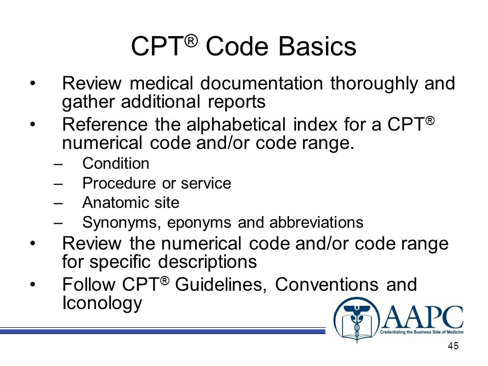 CPT ® Code Basics Review medical documentation thoroughly and gather additional reports Reference the alphabetical index for a CPT ® numerical code and/or code range.