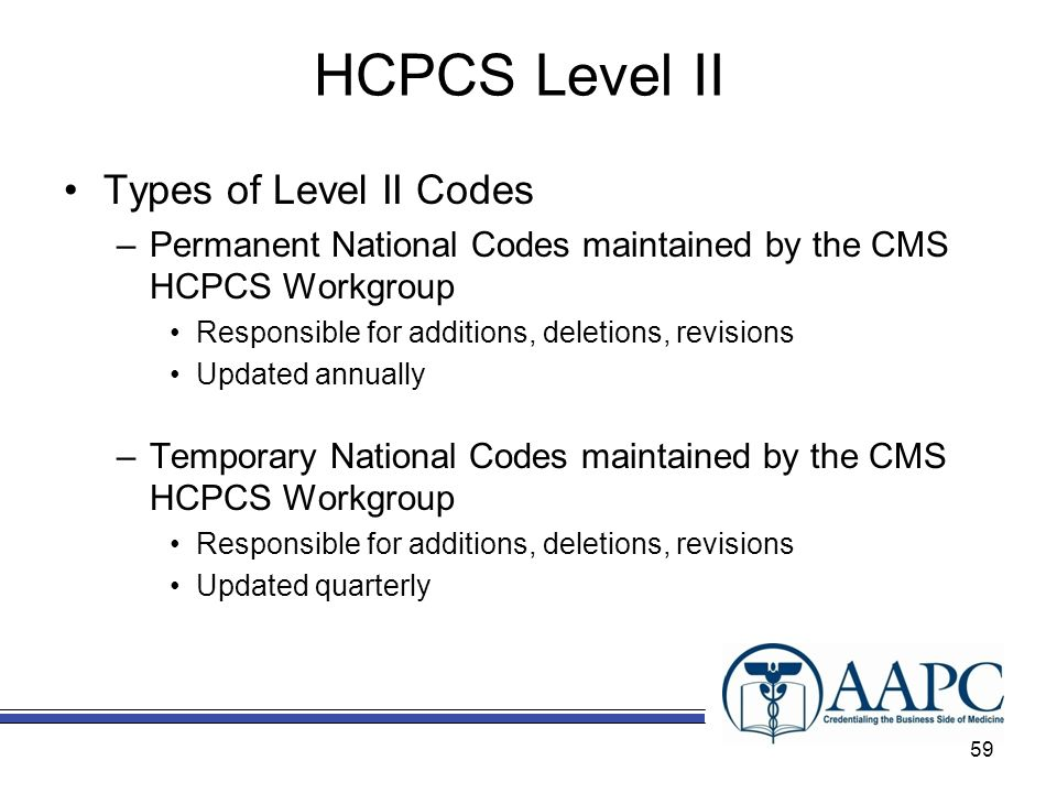 HCPCS Level II Types of Level II Codes –Permanent National Codes maintained by the CMS HCPCS Workgroup Responsible for additions, deletions, revisions Updated annually –Temporary National Codes maintained by the CMS HCPCS Workgroup Responsible for additions, deletions, revisions Updated quarterly 59