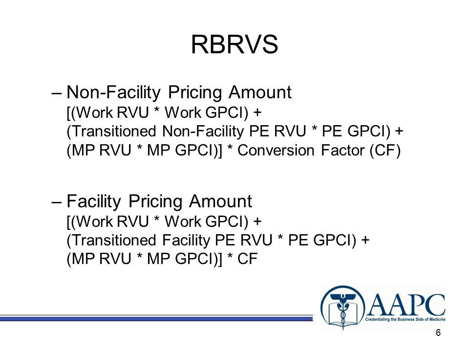 RBRVS –Non-Facility Pricing Amount [(Work RVU * Work GPCI) + (Transitioned Non-Facility PE RVU * PE GPCI) + (MP RVU * MP GPCI)] * Conversion Factor (C