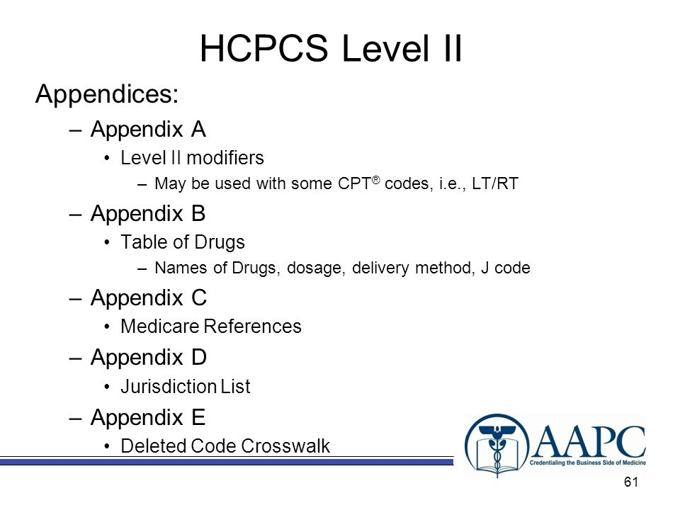HCPCS Level II Appendices: –Appendix A Level II modifiers –May be used with some CPT ® codes, i.e., LT/RT –Appendix B Table of Drugs –Names of Drugs, dosage, delivery method, J code –Appendix C Medicare References –Appendix D Jurisdiction List –Appendix E Deleted Code Crosswalk 61