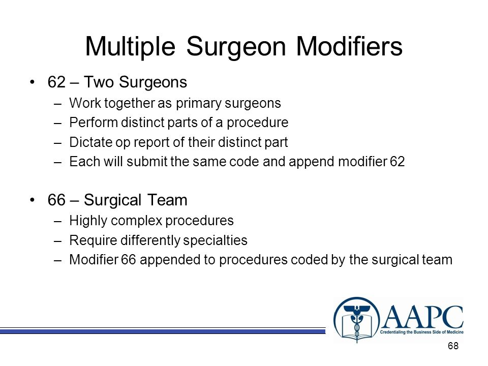 Multiple Surgeon Modifiers 62 – Two Surgeons –Work together as primary surgeons –Perform distinct parts of a procedure –Dictate op report of their distinct part –Each will submit the same code and append modifier 62 66 – Surgical Team –Highly complex procedures –Require differently specialties –Modifier 66 appended to procedures coded by the surgical team 68
