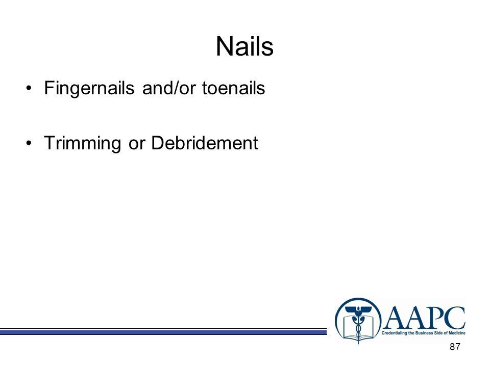 Nails Fingernails and/or toenails Trimming or Debridement 87