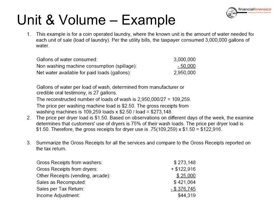 Unit & Volume – Example